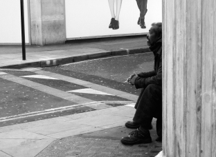 "During the time I was working in Soho, London, from 2000 - 2005, I used to see this homeless guy around Oxford Street, he would repeat the phrase ""yes, twenty pence, please, twenty pence"" over and over. He was quite distinctive as this was all I ever heard him say, and at the time I was always on the look out for interesting people around London for a personal project I was working on. One time though I did hear him ask passers by what their favourite colour was."